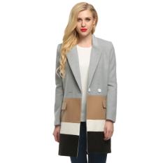 Cyber Finejo Women Lapel Long Sleeve Loose Wool Blend Splicing Long Coat Jacket Overcoat (Gray) (Intl)