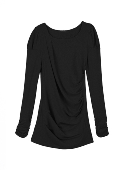 Cyber Korea Fashion Women's Spring Autumn Long Sleeve T-shirt Shirt Tops (Black)