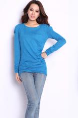 Cyber Korea Fashion Women's Spring Autumn Long Sleeve T-shirt Shirt Tops (Blue)