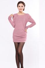 Cyber Korea Fashion Women's Spring Autumn Long Sleeve T-shirt Shirt Tops (Pink)
