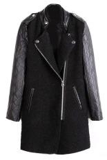 Cyber Korea Women's Girls Fashion Stand-Up Collar Leather Long Sleeve Badge Decoration Coat (Black)