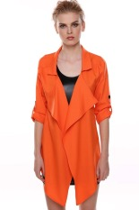 Cyber Lady Women's Fashion Casual 3/4 Sleeve Turndown Neck Outwear Asymmetric Loose Jacket (Orange)