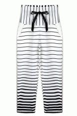 Cyber Lady Women's Joggers Sport Trousers Striped Long Pants (Black + White)