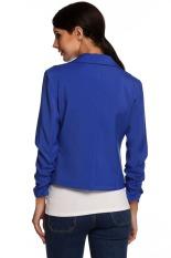 Cyber Meaneor Ladies Women Lapel Neck Long Sleeve Draped Decor One Button Slim Casual Office Coat Blazer (Dark Blue)