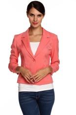 Cyber Meaneor Ladies Women Lapel Neck Long Sleeve Draped Decor One Button Slim Casual Office Coat Blazer (Watermelon Red)