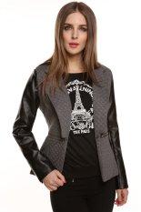 Cyber Meaneor Stylish Ladies Women Casual Long Sleeve Synthetic Leather Zipper Pocket Coat Jacket Outwear Overcoat (Gray)
