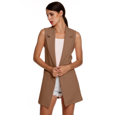 Cyber Meaneor Stylish Ladies Women Casual Sleeveless Lapel Pocket Solid Vest Coat Long Jacket Waistcoat Cardigan (Dark Khaki)