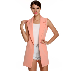 Cyber Meaneor Stylish Ladies Women Casual Sleeveless Lapel Pocket Solid Vest Coat Long Jacket Waistcoat Cardigan (Pink)