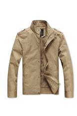 Cyber Men Slim Fit Casual Zipper Design Jacket Khaki