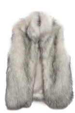 Cyber New Fashion Women's Faux Fur Vest Medium Long Stand Collar Jackets Coat Vest Waistcoats (Grey)