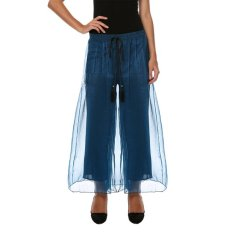 Cyber New Fashion Women's Sexy Casual Loose High Waist Solid Wide Leg Pants (Blue)