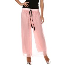 Cyber New Fashion Women's Sexy Casual Loose High Waist Solid Wide Leg Pants (Pink)