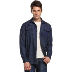Cyber New Men Turn Down Collar Long Sleeve Casual Denim Shirts Blouses With Pockets (Dark Blue) - Intl