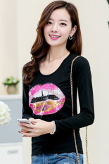 Cyber New Women's Long Sleeve O-Neck Sequined Cartoon Lip Pattern T-shirt Casual Blouse Slim Fitting Tops Sweatshirt (Black)