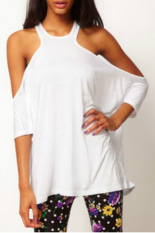 Cyber New Women's Stylish Loose Off-shoulder Long T-shirt White