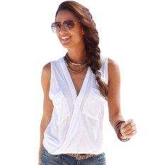 Cyber New Womens Summer Sleeveless Vest Tank Tops Casual T-Shirt Beachwear (White)