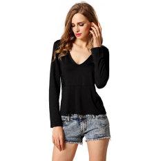 Cyber Stylish Lady Women Sexy Deep V-Neck Back Hollow Lace Decor Slim Casual T-shirt Tops (Black)