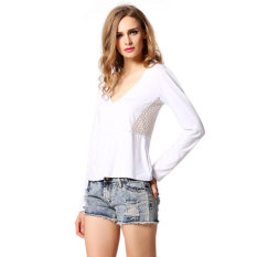 Cyber Stylish Lady Women Sexy Deep V-Neck Back Hollow Lace Decor Slim Casual T-shirt Tops (White)