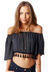 Cyber Summer Sexy Women Chiffon Slash Neck Off Shoulder Tassel Crop Tops Beach Wear (Black)