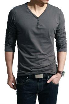 Cyber v-leher panjang kasual pria lengan baju t-shirt-puncak (Abu