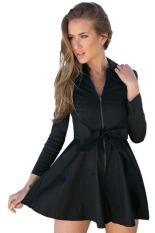 Cyber New Women Fashion Casual Long Windbreaker Zipper Outwear Coat with Belt (Black)