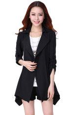 Cyber Fashion Women Casual Trench Coat Long Jacket Overcoat Outerwear (Black)