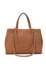 Cyber Women Crocodile Pattern Chain Leather Handbag Shoulder Tote Bag Brown