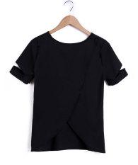 Cyber Women Fashion Casual Round Neck Short Sleeve Irregular Hem Solid Basic T Shirt Tees (Black)