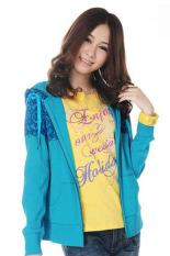 Cyber Women Girl Floral Print Outdoor Jackets Sweater Hooded Coat Hoody Jacket Outwear (Green)