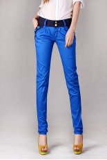 Cyber Women Korea Style Casual Slim Candy Color Contrast Color Patchwork Long Pencil Trouser Harem Pants (Blue)
