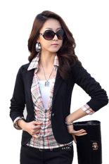 Cyber Women OL Coat Lapel One Button Long Sleeve Short Suit Blazer Jackets Coats(Black)
