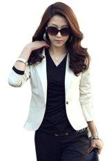 Cyber Women OL Coat Lapel One Button Long Sleeve Short Suit Blazer Jackets Coats(White)