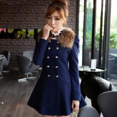 Cyber Women Woolen Winter Trench Double Button Fur Collar Coat Jacket Outwear (Navy Blue)