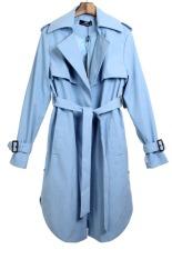 Cyber Womens Autumn Winter Big Lapel Collar Waterfall Belt Long Sleeve Coat Jacket Trench Coat Cape Long Overcoat Windbreaker (Blue)