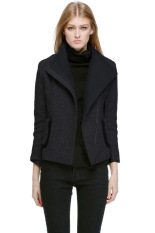 Cyber Women's Fall Winter Slim Fit Assorted Colors Lapel Woolen Coat Jacket Outerwear (Black)