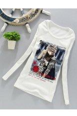 Cyber Women's Fashion Casual Printing Long Sleeve O-neck T-shirt White