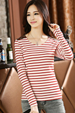 Cyber Women's Round Neck / Crew Neck Striped Patch Slim Long Sleeve Casual Career Tops T-shirt Basic Tee