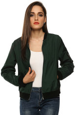 Cyber Zeagoo Women Autumn Casual O-Neck Long Sleeve Slim Zip Up Jacket Coat (Army Green) (Intl)