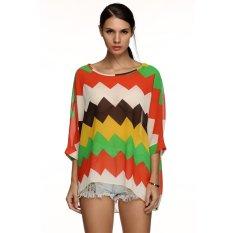 Cyber Zeagoo Women Fashion Casual Bohemian Style Print Loose Beach Chiffon Top Blouse (Red)