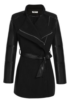 Cyber Zeagoo Women Lapel Long Sleeve Synthetic Leather Patchwork Wool Blend Trench Coat Outerwear (Black)