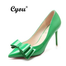 Cyou 2017 New Fashion Fomal Women High Heeled Sandals Ladies Leather Office Heels Party Shoes Pam Kasut Tumit Tinggi Wanita (Green,Heels 9CM) - intl
