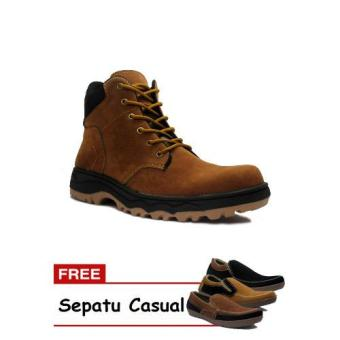 D-Island Shoes Safety Boots Mens Canada Suede Soft Brown + GratisSepatu Casual
