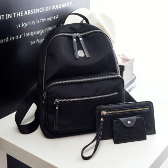 Dalam tas Jianyue Oxford kain perempuan tas ransel tas ransel (Hitam tiga potong)