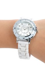 Daybird 3713 Women's Ceramic Band Quartz Wrist Watch W / Crystal- White