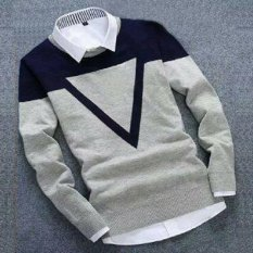 DEcTionS Sweater Rajut Pria Triangel Grey Navy