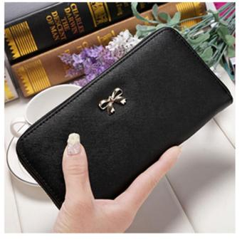 Dompet Fashion Wanita simpel pita Korean Cross Pattern Purse Bowknot - Hitam