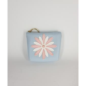 Dompet Koin Premium Quality PU Flower - Blue