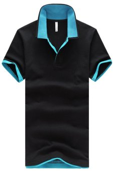 Double Collar Short Sleeve Plus Size Polo Shirt Blue Collar