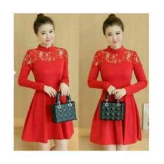 Dres Cliona Red/Dress Cantik/Dress Merah/Fashion Wanita