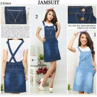 ... Dress overall jeans wanita mini dress Niki 01 biru muda